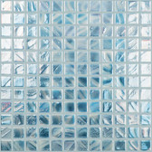 "BRUSHED SILVER / BLUE / WHITE IRIDESCENT • Titanium Collection by Vidrepur • Recycled Mosaic 1"" x 1"" Glass Tiles"