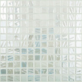 """SNOW WHITE IRIDESCENT • Titanium Collection by Vidrepur • Recycled Mosaic 1"""" x 1"""" Glass Tiles"""