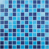 "FOG SKY BLUE / FOG NAVY BLUE • Mixes Collection by Vidrepur • Recycled Mosaic 1"" x 1"" Glass Tiles"