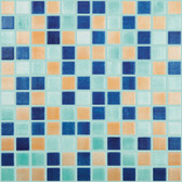 "FOG CARIBBEAN GREEN / ORANGE / NAVY • Mixes Collection by Vidrepur • Recycled Mosaic 1"" x 1"" Glass Tiles"
