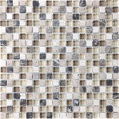 "Cappucinno • Bliss Collection by Anatolia Tile & Stone • 5/8"" x 5/8"" • Glass Stone Blend Mosaics"