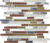 Cabernet • Bliss Collection by Anatolia Tile & Stone • Staggered • Glass Stone Linear Blend Mosaics