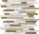 Bamboo • Bliss Collection by Anatolia Tile & Stone • Staggered • Glass Stone Linear Blend Mosaics