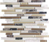 Cappucinno • Bliss Collection by Anatolia Tile & Stone • Staggered • Glass Stone Linear Blend Mosaics