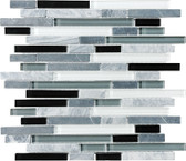 Midnight • Bliss Collection by Anatolia Tile & Stone • Staggered • Glass Stone Linear Blend Mosaics