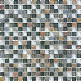 "Smocky Mica • Bliss Collection by Anatolia Tile & Stone • 5/8"" x 5/8"" • Glass Slate Quartz Blend Mosaics"
