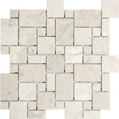 Berkshire Crema Marble Polished | Mini Versailles Mosaic Tile