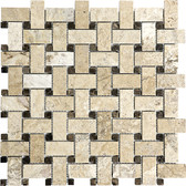 Picasso Travertine Honed & Filled | Basketweave Mosaic Tile