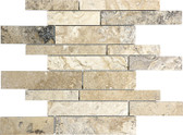 Picasso Travertine Honed | 5/8 Random Strip Mosaic Tile