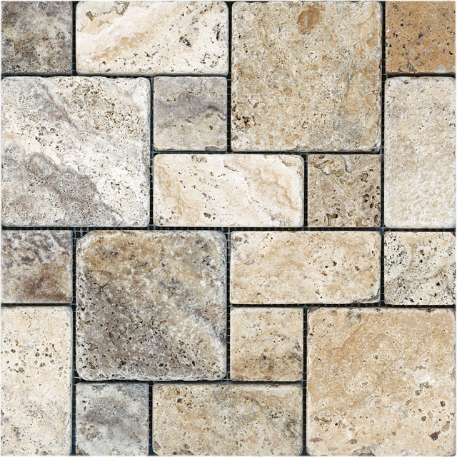 Roman Pattern Tumbled Picasso Travertine Mosaic Tile