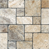 Picasso Travertine Tumbled | Roman Pattern Mosaic Tile