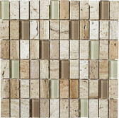"Luce • Stone Medley Collection by Northstar Cearmics • 1"" x 2"" • Glass & Stone Mosaic Tiles"