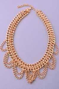 Gold Chained Up Statement Necklace
