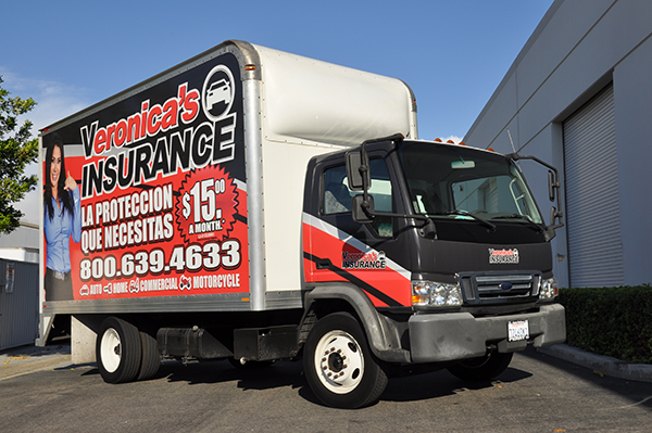 Ford Lcf box truck wrap for Veronicas Insurance