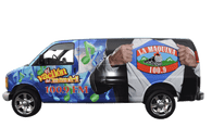 Chevy Van using GF for La Maquina 100.9 Radio Station
