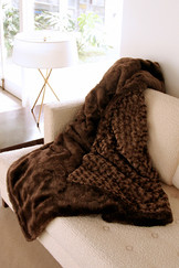 Cozy Faux Brown Rabbit Mocha Throw