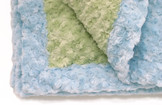 Baby Blanket - Sage with Light Blue Trim