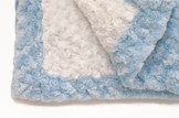 Baby Blanket  - White with Light Blue Trim