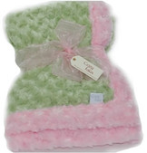 Baby Blanket - Sage with Light Pink Trim