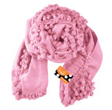 Tickle-Me-Pink Silk Cotton Pom Pom Scarf
