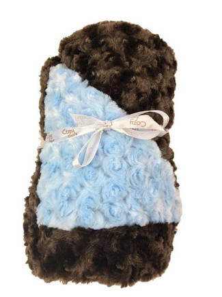 Baby Blanket - Light Blue with Brown Trim