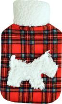 Red Tartan Scottie Dog Fleece Applique 2L Hot Water Bottle