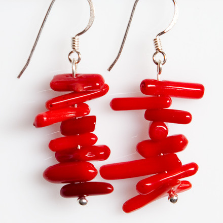 Scarlet Coral blue sky Luxe Earrings