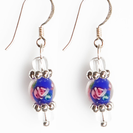 Cobalt Millefiori blue sky Luxe Earrings