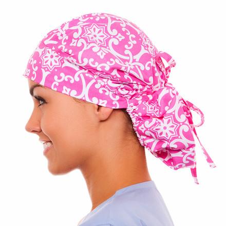 Chandler Damask Poppy Scrub Hat