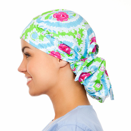 Irving Damask Poppy Scrub Hat