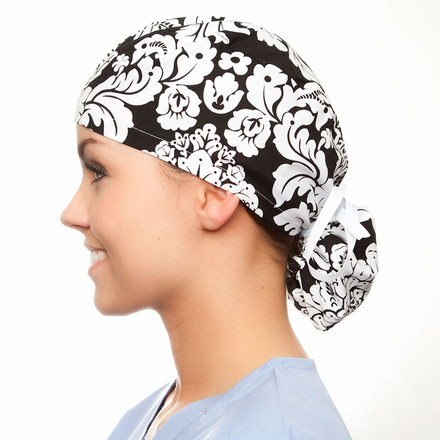 Samantha pony tail surgical scrub hat for women