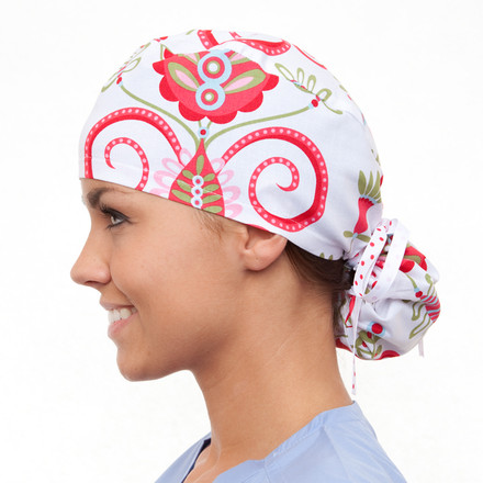 Alpine Damask Pony Scrub Hat