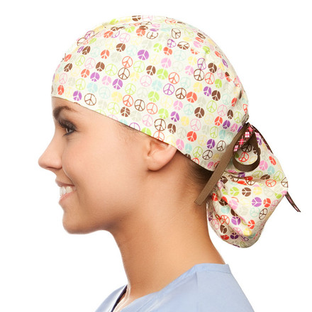 Peace of Mind pony tail surgical scrub hat for women