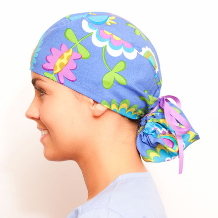 August Retreat pony tail surgical scrub hat for women