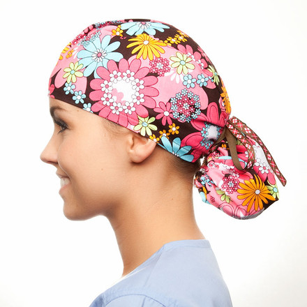 Hippie Chick Pony Scrub Hat