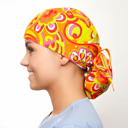 Cosmopolitan pony tail surgical scrub hat for women