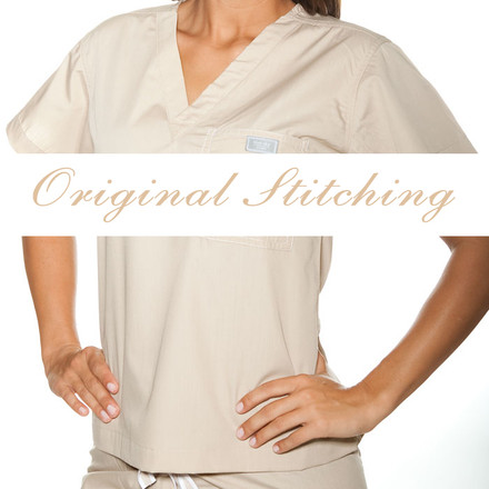 Linen Scrubs Top - L
