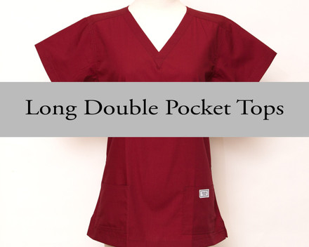 Small Womens Long Double Pocket Simple Tops