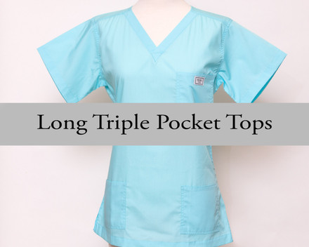 Small Womens Long Three Pocket Simple Tops