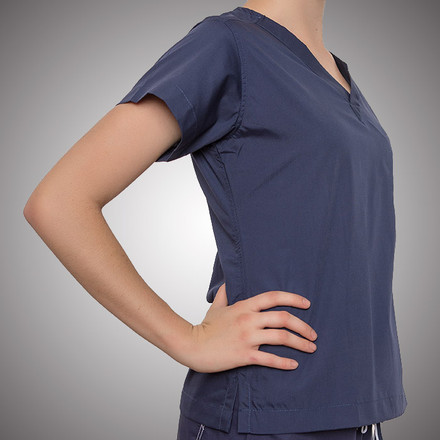 Navy Blue Original Scrub Tops with Lime Green Stitching