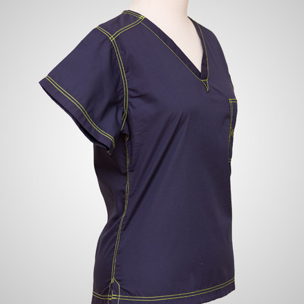 Navy Blue Urban Scrub Tops with Lime Green Stitching