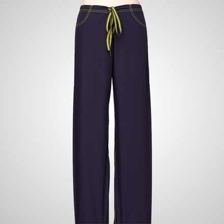 Navy Blue Urban Scrub Bottoms with Lime Green Stitching