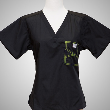 Large Black Shelby Scrub Tops with Colored Stitching