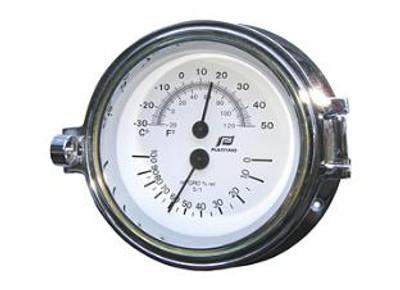 "Plastimo 3"" Thermometer-Hygrometer Hinged Chrome"