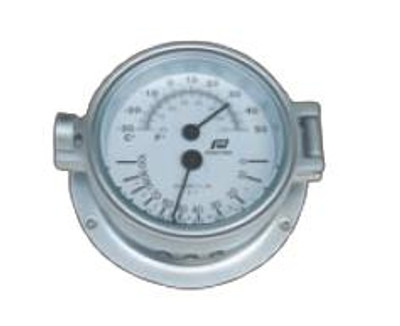 "Plastimo 4 1/2"" Thermometer-Hygrometer Hinged Chrome/Matt Chrome"