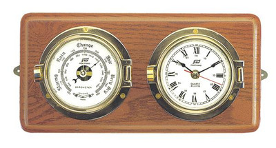 "Plastimo 3"" Clock & Barometer on Wood RN/Arabic"