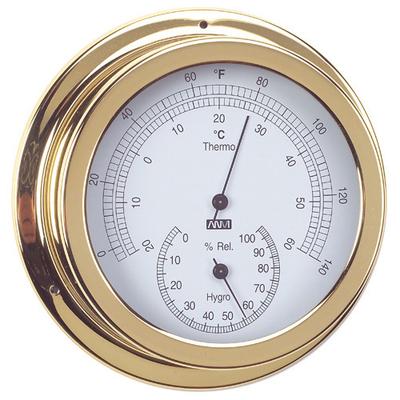 RWB Thermometer & Hygrometer Brass/Chrome 120mm