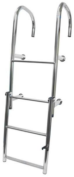 RWB Stainless Steel Step-Thru Ladders 4 Rung Angled Legs/Straight Legs