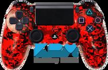Red Digital Camo Custom PS4 Controller