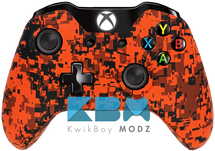 Custom Orange Digital Camo Xbox One Controller